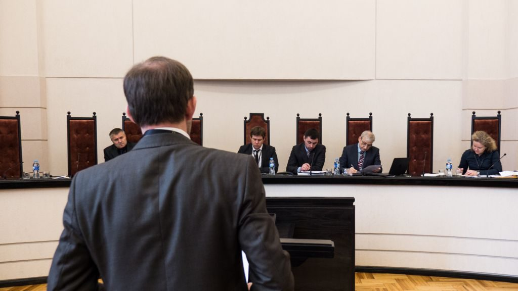 Moot court as part of the concluding international conference of the third cycle of education using ILIA Online, held at the Constitutional Court of Lithuania.