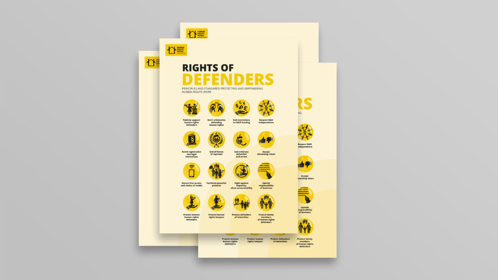 Rights of Defenders Poster: 16 international standards protecting and empowering human rights defenders.
