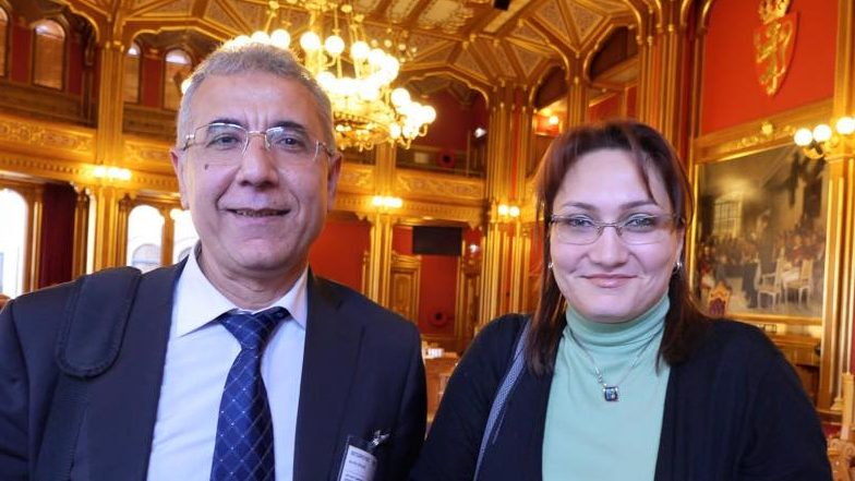 Shahla Ismayil with fellow human rights defender, and human rights lawyer Intigam Aliyev during an international advocacy trip to Oslo, Norway in 2013.