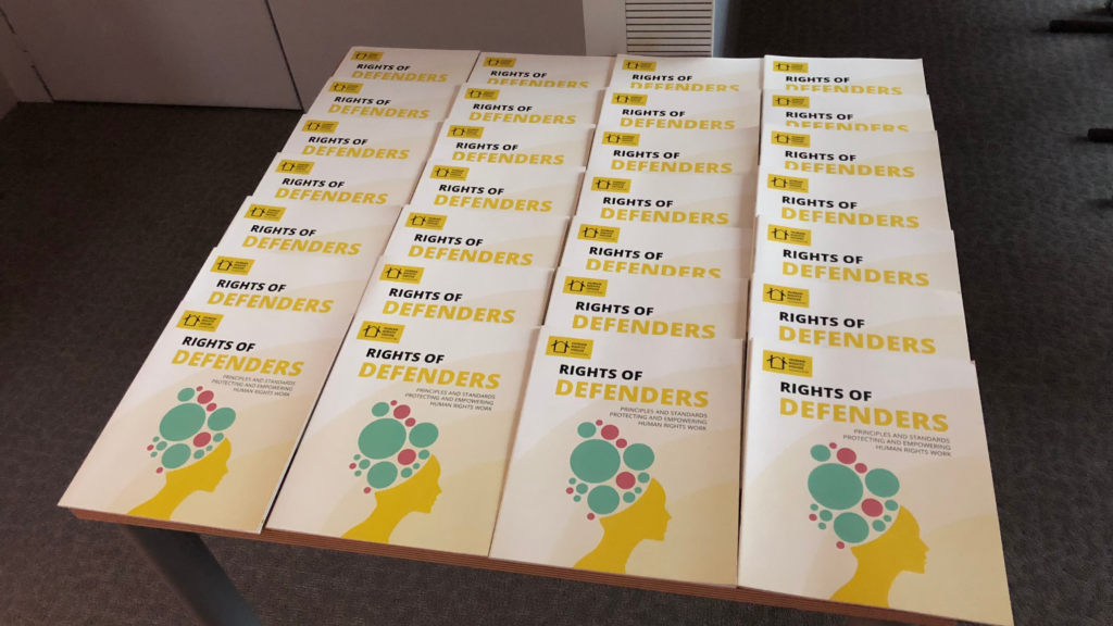 Rights of Defenders booklets distributed at Committee of Ministers briefing.