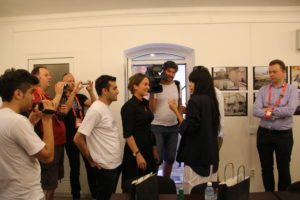 May 2012: Mehman Huseynov (left edge of photograph in white) documents a meeting between Swedish Eurovision winner Loreen, Human Rights House Azerbaijan, Human Rights House Foundation, and Civil Rights Defenders.