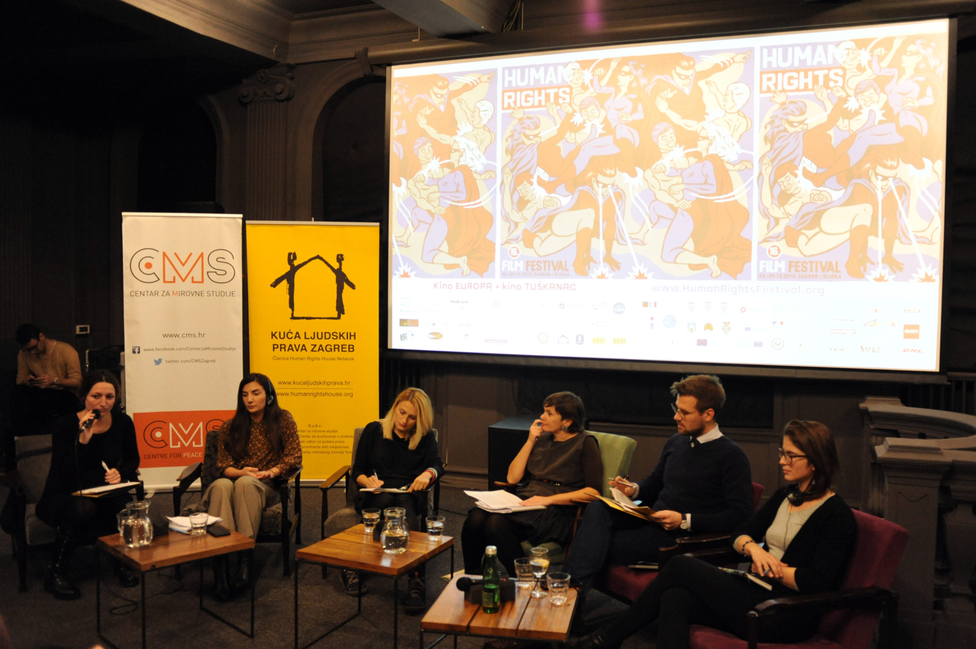 "the public debate ""Human Rights Defenders"", held on 7 December 2018 as part of the 16th Human Rights Film Festival in Zagreb. Photo: Human Rights Film Festival (HRFF)."