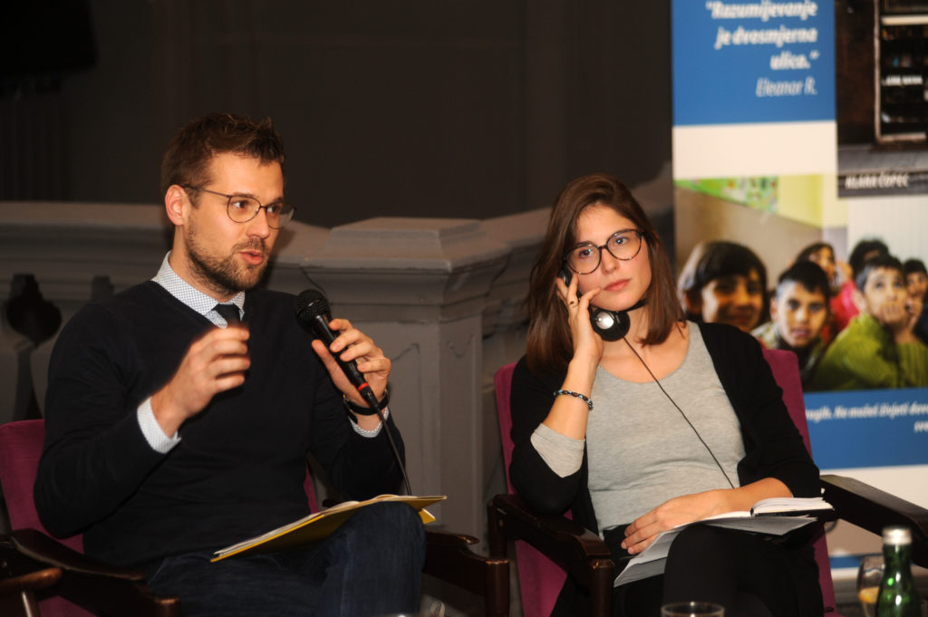 "Ivan Novosel, Human Rights House Zagreb; and Maddalena Avon, Centre for Peace Studies, at the debate ""Human Rights Defenders"" on 7 December 2018."