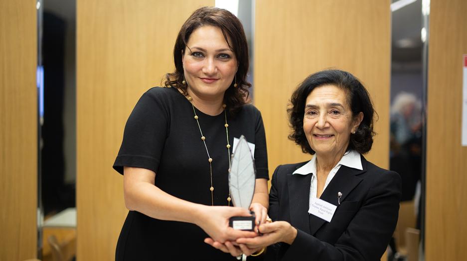 Shahla Ismayil wins the 2018 Bob Hepple Equality Award. Photo: humanrightshouse.org