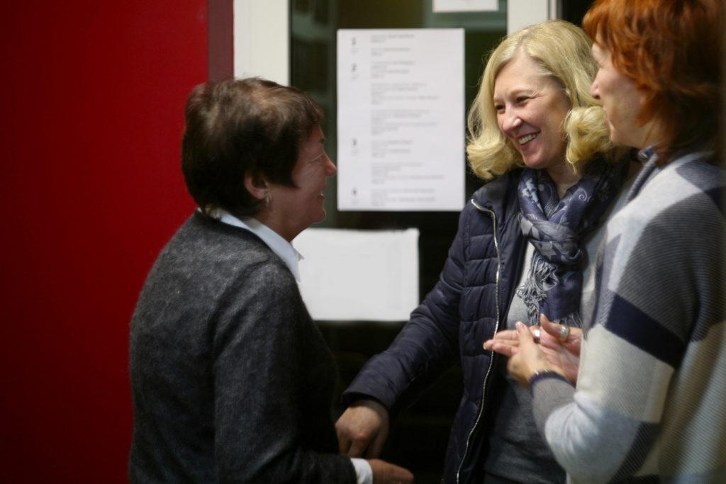 Tatsiana Reviaka with Zhanna Litvina and Halina Ustsinava at the Belarusian Human Rights House. December 2018 Photo: Barys Zvozskau Belarusian Human Rights House