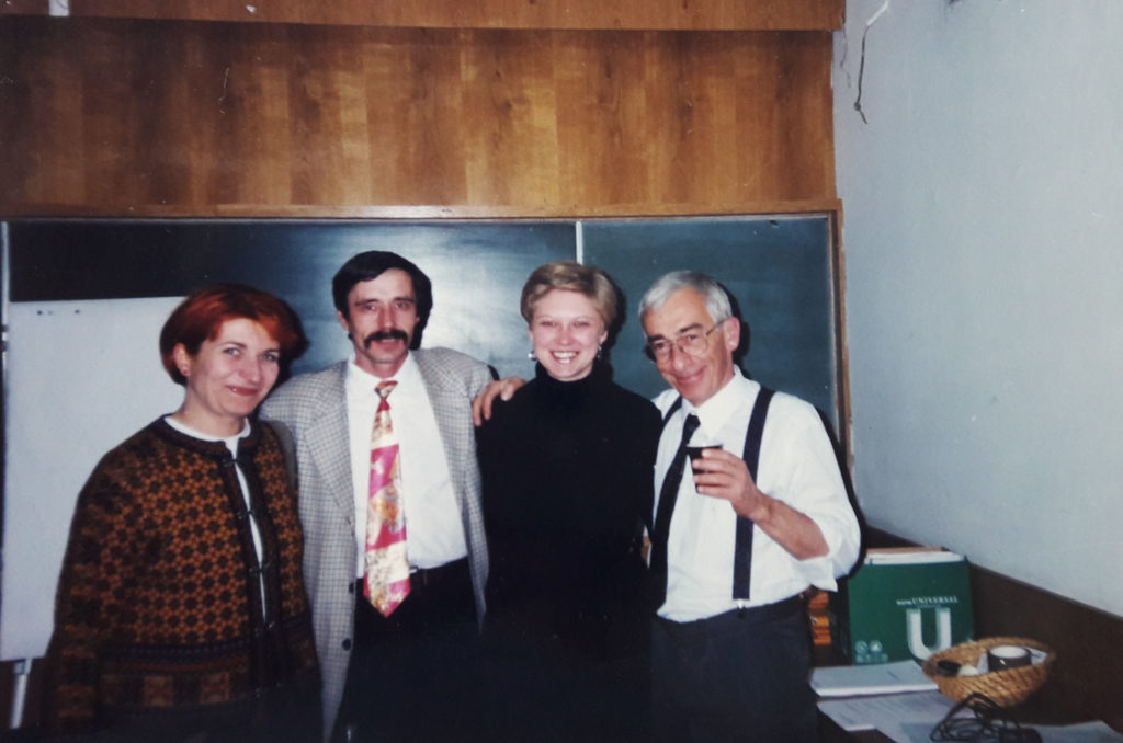 Attending HFHR's human rights courses with, Jacqueline Kacprzak, Ales Danilchyk and Marek Nowicki in Warsaw, 1998. Photo: Tatsiana Reviaka.