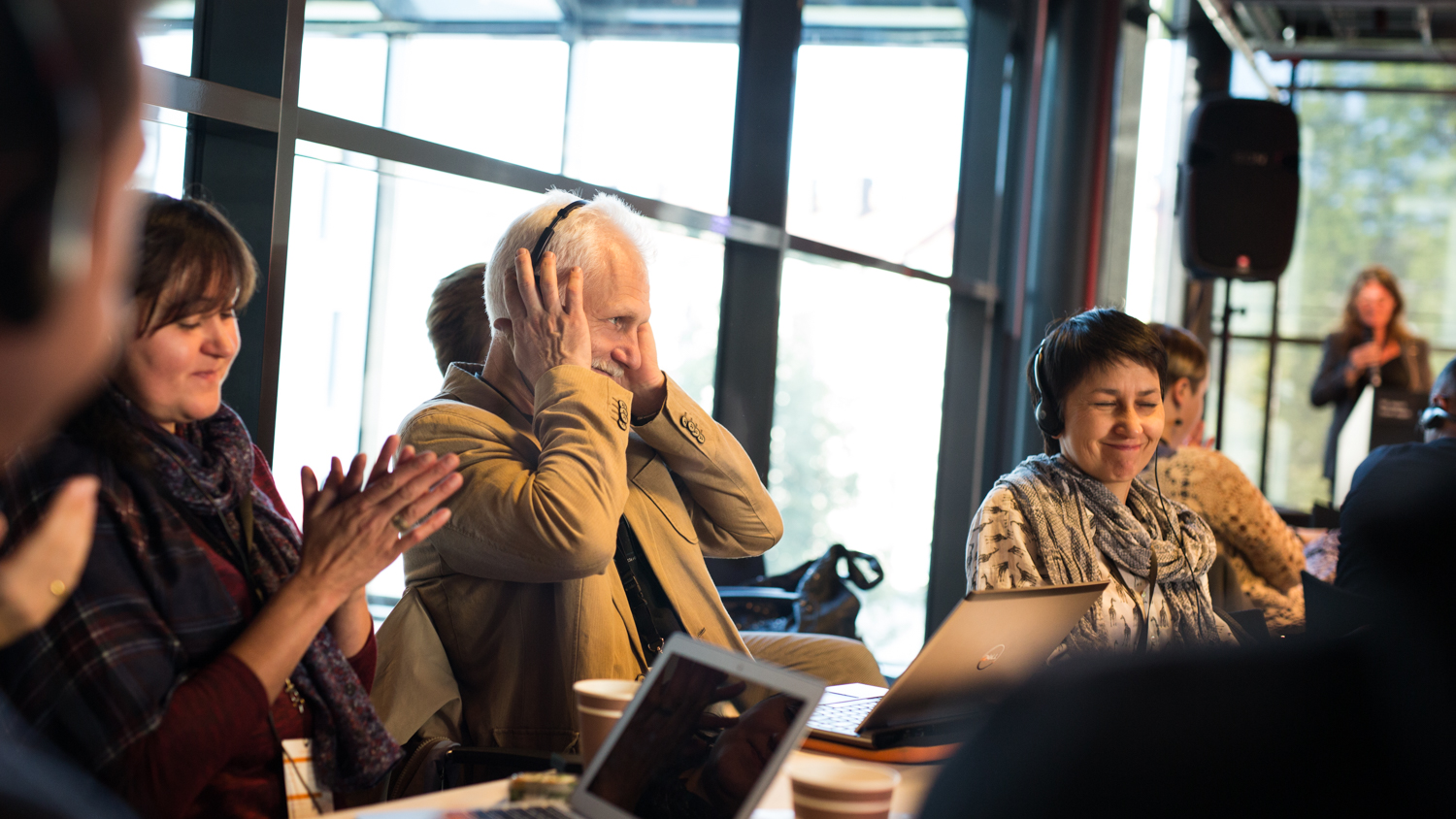 For the first time since his release from prison, Ales Bialiatski is reunited with his colleagues from the Human Rights Houses during the 2015 network meeting in Oslo. Photo: humanrightshouse.org